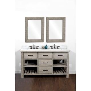 Nice Rustic Style 60 Inch Double Sink Bathroom Vanity