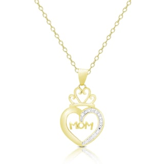 Finesque Gold Overlay Diamond Accent Mom Heart Necklace