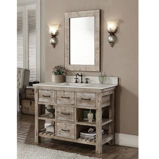 Rustic Style 48 Inch Single Sink Bathroom Vanity And Matching Wall Mirror