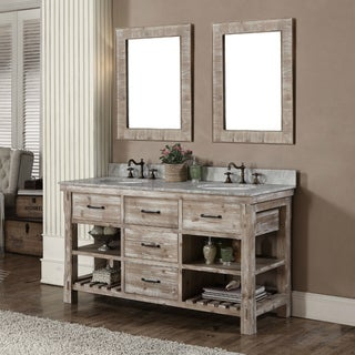 Rustic Style 60-inch Double Sink Bathroom Vanity and Matching Wall Mirrors