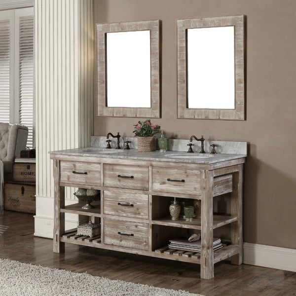 Shop Rustic Style 60 Inch Double Sink Bathroom Vanity And Matching