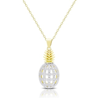 Finesque Gold Overlay Diamond Accent Pineapple Necklace