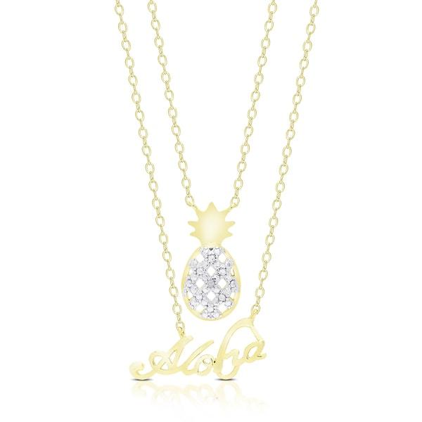 Finesque Gold Overlay Diamond Accent Pineapple Aloha Hawaii Necklace