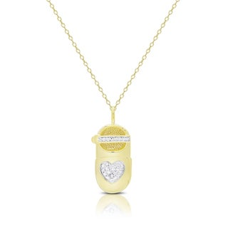 Finesque Gold Overlay Diamond Accent Baby Shoe Necklace