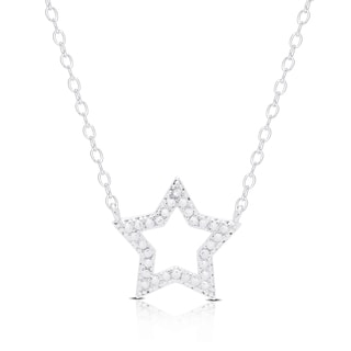 Finesque Silver Overlay Diamond Accent Star Necklace