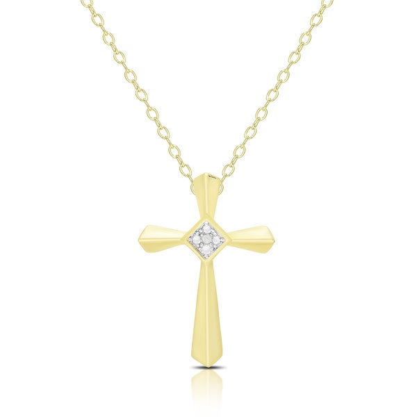 Finesque Gold Overlay Diamond Accent Cross Necklace