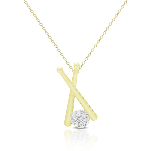 finesque gold overlay accent baseball necklace