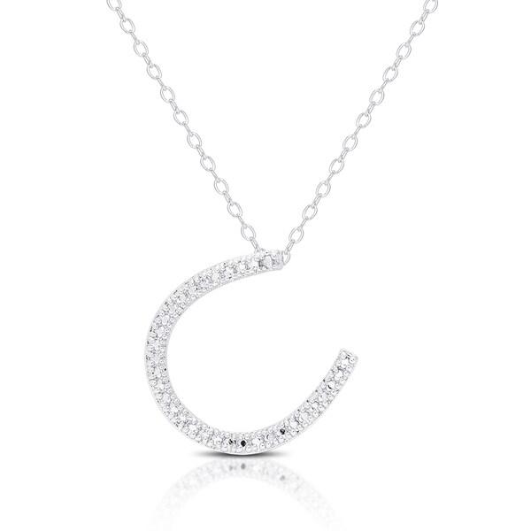 Finesque Silver Overlay Diamond Accent Lucky Horse Shoe Necklace