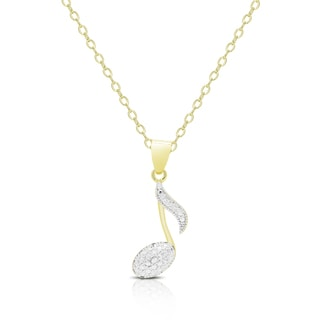 Finesque Gold Overlay Diamond Accent Musical Note Necklace