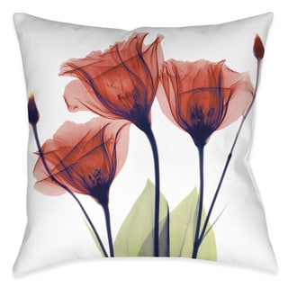 Laural Home X-Ray Gentian Red Flower Decorative Throw Pillow