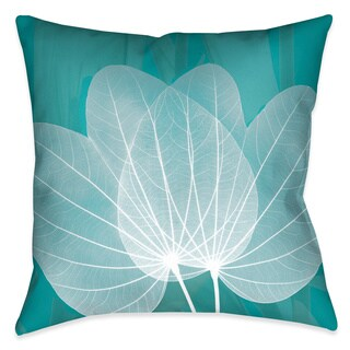 Laural Home X-Ray Leaves on Teal Decorative Throw Pillow