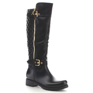 Beston EA21 Women's Back Quilt Buckle Strap Knee High Boots