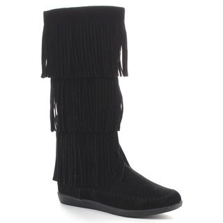 BELLA MARIE TASHA-21 Women's Comfy Fringe Knee High Boots