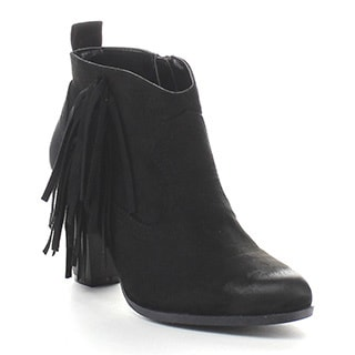 QUPID NIXON-01 Women's Fringe Side Zipper Ankle Booties