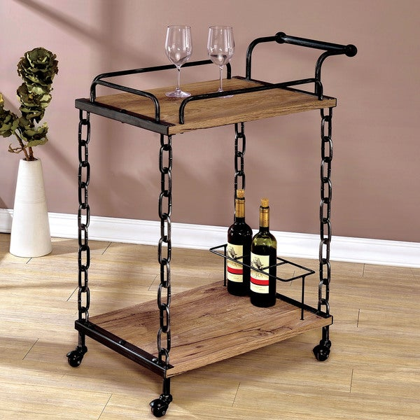 Industrial Kitchen Cart Bar Cart Serving Cart: Furniture Of America Porteno Industrial Chain Link Serving