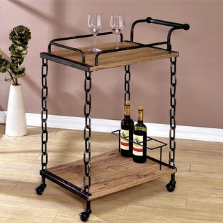 Furniture of America Porteno Industrial Chain Link Serving Cart