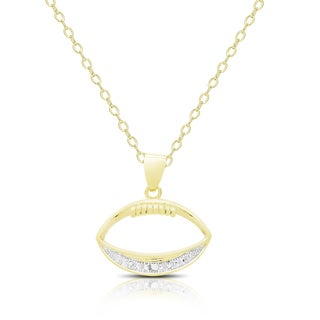 Finesque Gold Overlay Diamond Accent Football Necklace