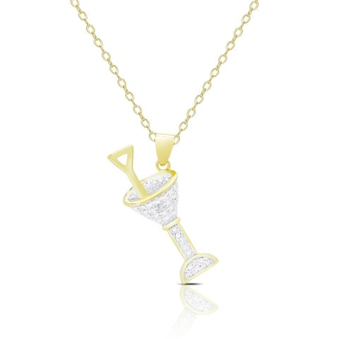 Finesque Gold Overlay Diamond Accent Martini Necklace