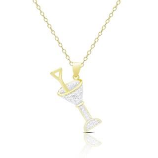 Finesque Gold Overlay Diamond Accent Martini Necklace
