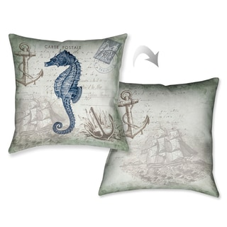 Laural Home Vintage Seaside Maritime Seahorse Decorative Throw Pillow (18 inches x 18 inches)