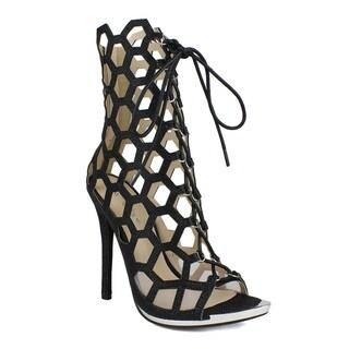 Celeste Queeny-01 Lace-Up Honeycomb Laser-Cut Women's Dress High Heel Bootie