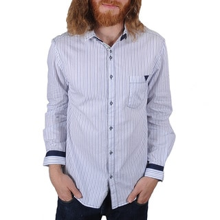 Lennon and McCartney Men's 'Blackbird' Blue Pinstripe Shirt