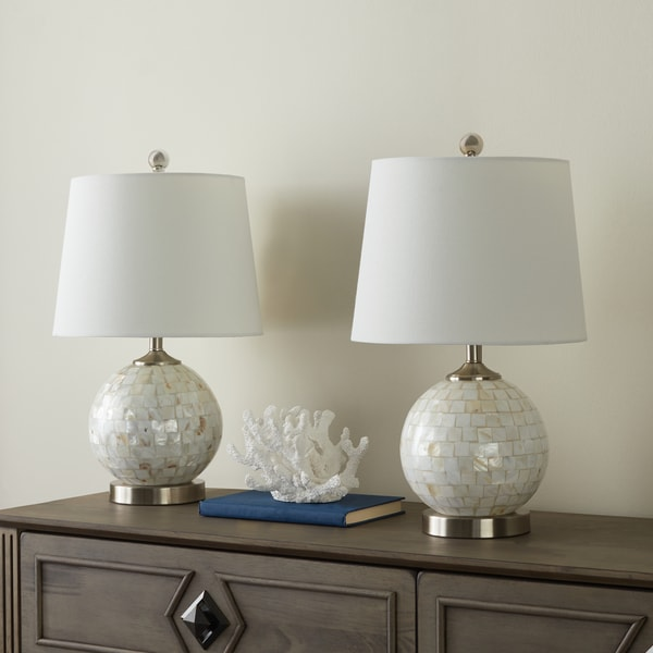 Abbyson Mother Of Pearl Ivory Mini Round Table Lamp (Set