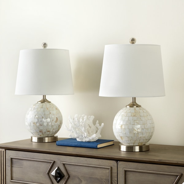 Abbyson Mother Of Pearl Mini 19-inch Table Lamp (Set of 2)