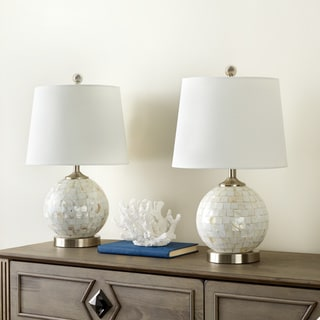 Abbyson Mother Of Pearl Mini Round Table Lamp (Set of 2)