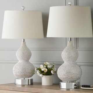 Abbyson Beaded Silver Resin Table Lamp (Set Of 2)