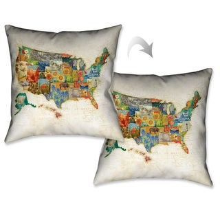 Laural Home US Travel Map Decorative Throw Pillow