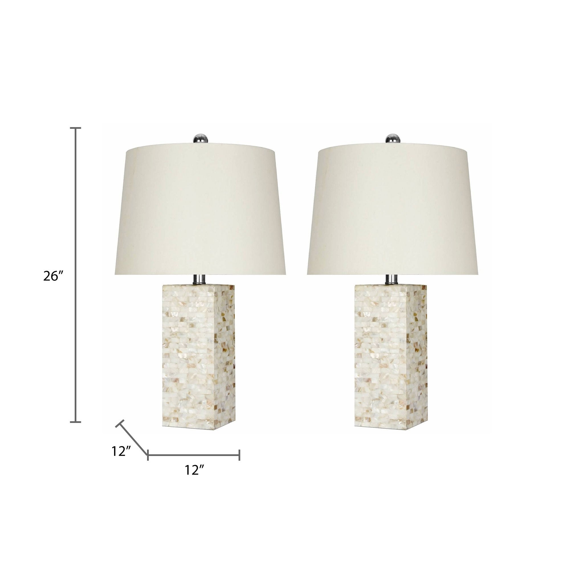 Mother Of Pearl Square 26 Inch Table Lamp Set Of 2 By Abbyson Overstock 10992580