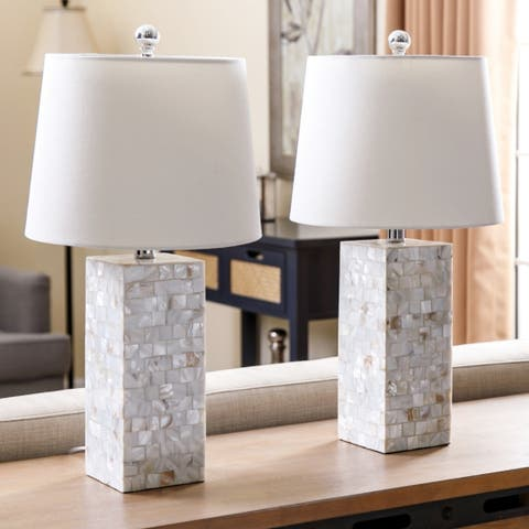 Mother of Pearl Square 26-inch Table Lamp (Set of 2) By Abbyson