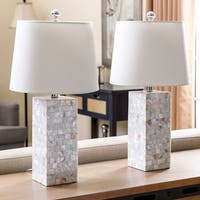 Abbyson Mother of Pearl Square 26-inch Table Lamp (Set of 2)