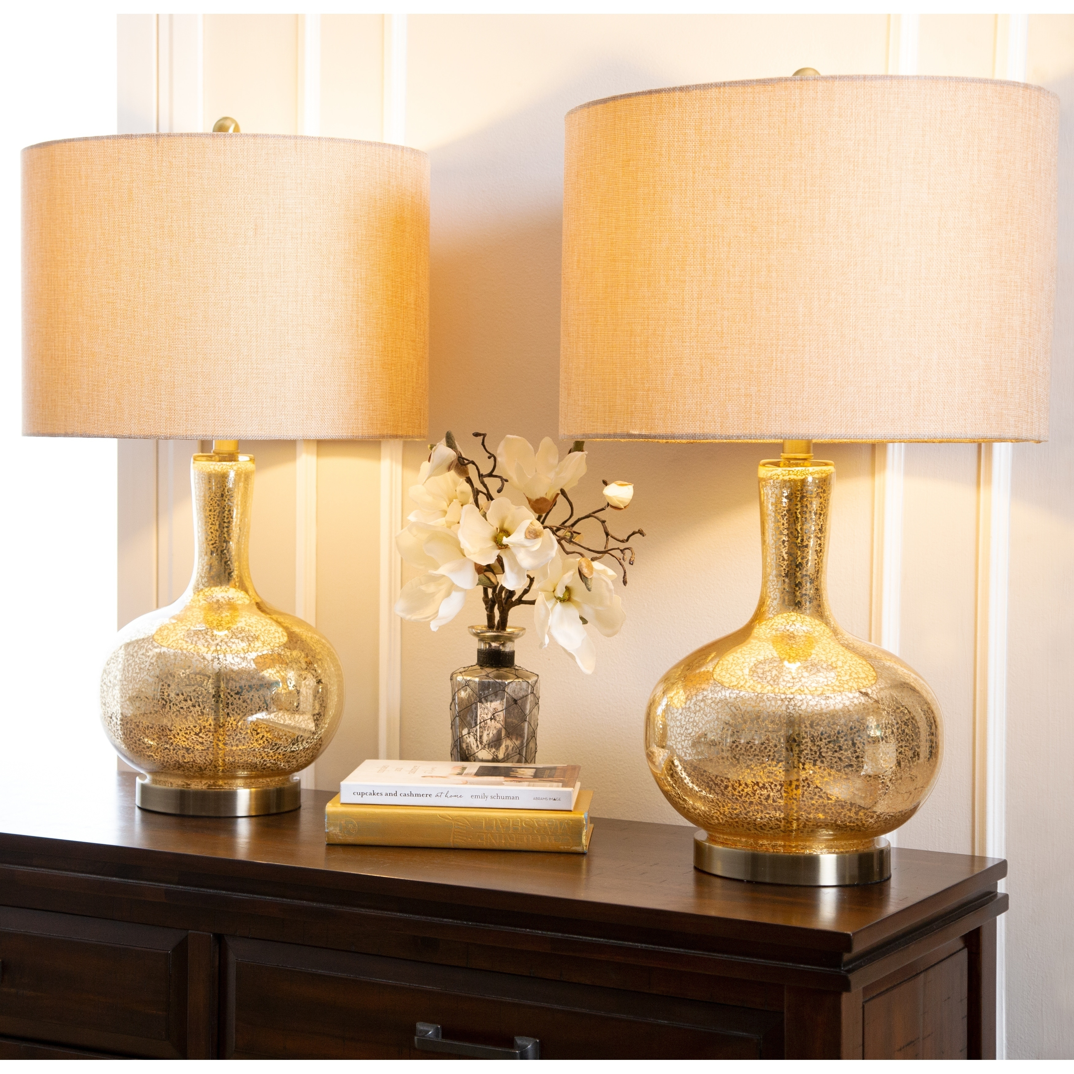Shop Black Friday Deals On Gold Mercury Glass 25 5 Inch Table Lamp Set Of 2 By Abbyson Overstock 10992583