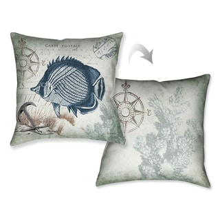Laural Home Vintage Seaside Maritime Fish Decorative Throw Pillow