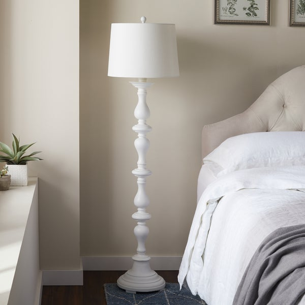 Abbyson Turnwood Antique White Floor Lamp - Free Shipping Today ...