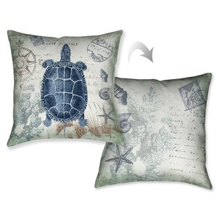 Laural Home Vintage Seaside Maritime Turtle Decorative Throw Pillow
