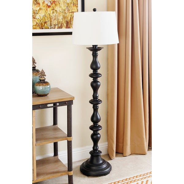 Abbyson turnwood black floor lamp free shipping today for Living cameroon uplighter floor lamp black