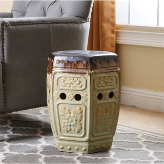Abbyson Living Milana Antique Embossed Ceramic Garden Stool