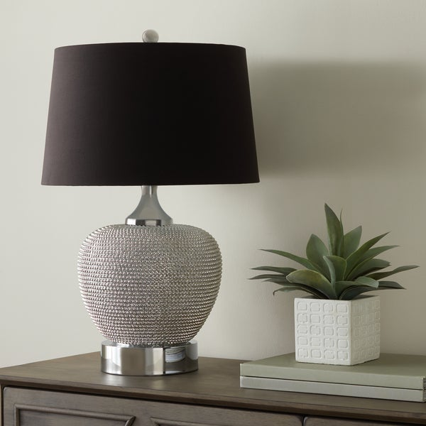Abbyson Celine Silver Beaded 28-inch Table Lamp