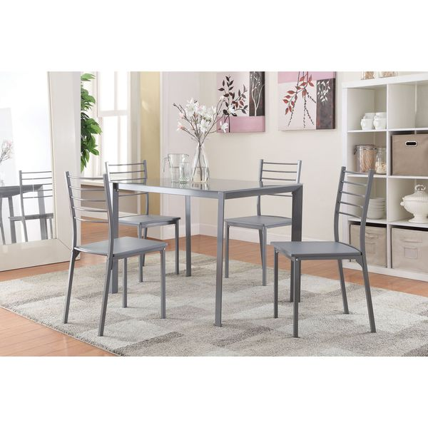 Coaster company contemporary grey 5 piece dining set for Naaptol kitchen set 70 pieces