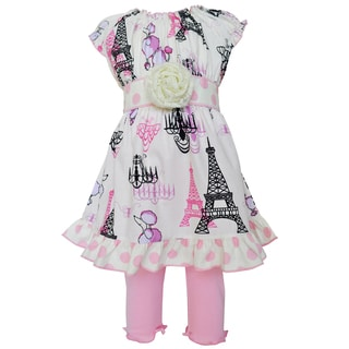 AnnLoren Boutique Poodles in Paris Dress/ Legging Spring Boutique Outfit