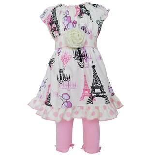 AnnLoren Boutique Poodles in Paris Dress/ Legging Spring Boutique Outfit