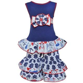 AnnLoren Girls Boutique Anchors Away Nautical Tunic and Capri Outfit