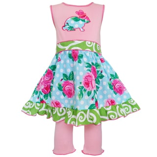 AnnLoren Boutique Easter Rose Dot Bunny Dress and Capri Set