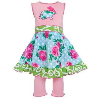 AnnLoren Boutique Easter Rose Dot Bunny Dress and Capri Set