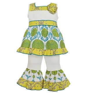 AnnLoren Boutique Girls' Floral/ Lattice Tunic and Capris 2-piece Outfit