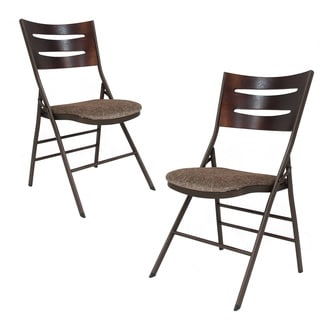 Adeco Tubular Steel Brown/ Brown Powder Coated Folding Chairs (Set of 2)