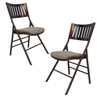 Adeco Tubular Steel Brown/ Brown Powder Coated Folding Chairs (Set of 2)|https://ak1.ostkcdn.com/images/products/10992660/P18013113.jpg?impolicy=medium